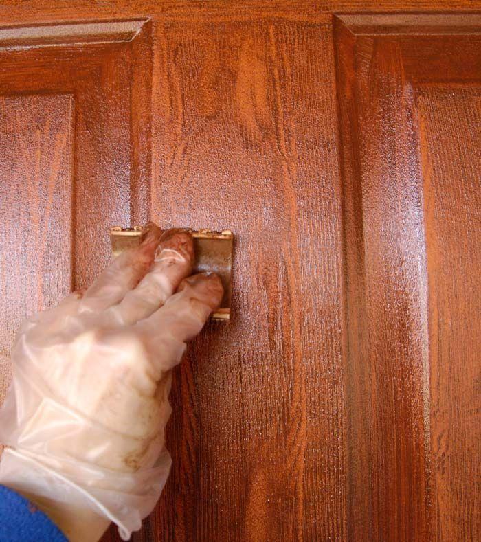 Front Door Redo Using Faux Wood Grain Technique Door Redo Painted Front Doors Wood Front Doors