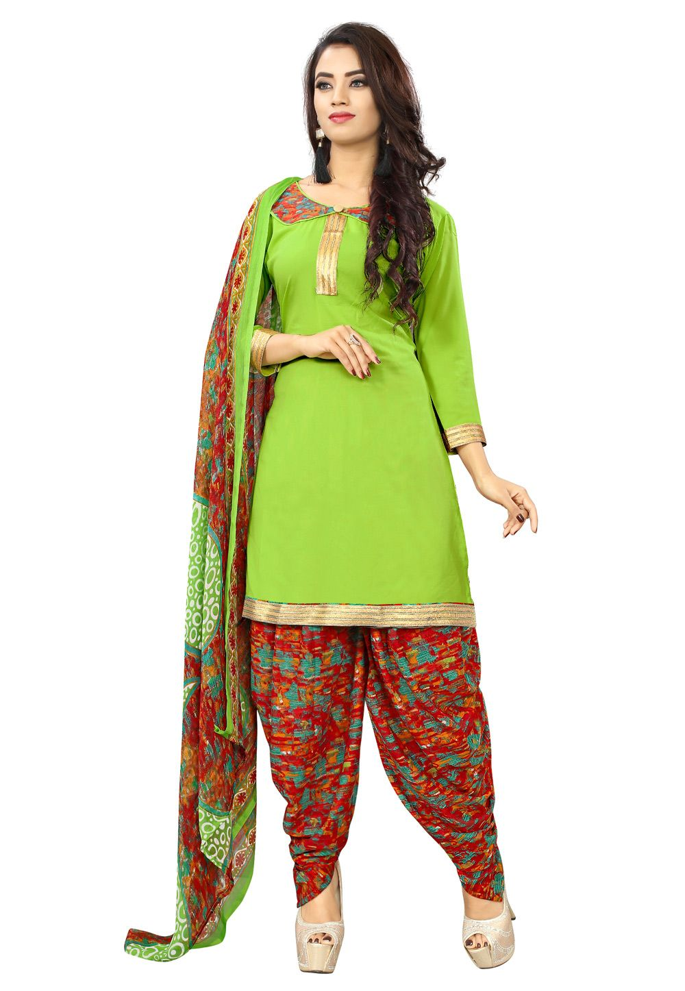 a55b175bfe Buy Light Green Cotton Patiala Suit 155442 online at lowest price from huge  collection of salwar kameez at Indianclothstore.com.
