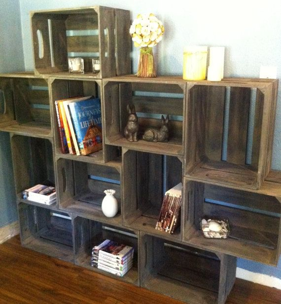 large wooden crate bookshelf with brackets by. Black Bedroom Furniture Sets. Home Design Ideas