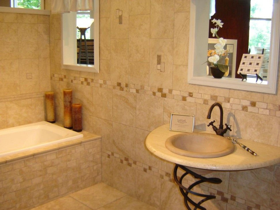 Nice Cream Bathroom Tile Design Idea With White Brown Borders