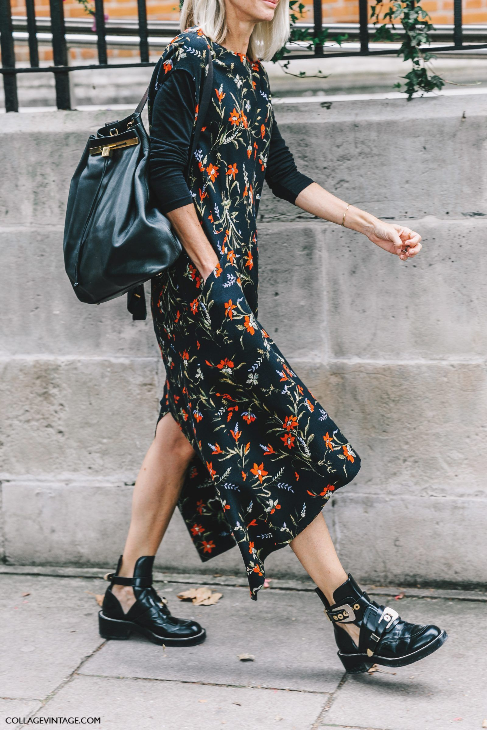 Slip dress, backpack, Balenciaga boots.