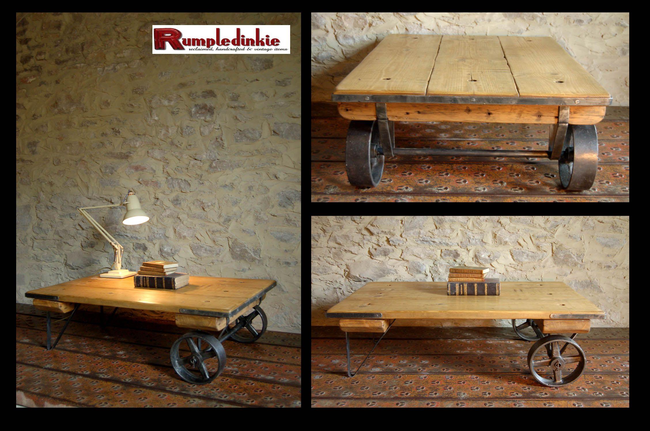 Rumpledinkie Designs Vintage Industrial Factory Cart Coffee Table Hand Made Using Reclaimed Pine An Coffee Table Industrial Style Furniture Cart Coffee Table