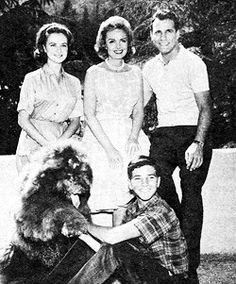 The Donna Reed Show - Mary (Shelley Fabares), Donna (Donna Reed), Alex (Carl Betz), Jeff (Paul Peterson) and a 'dog.'