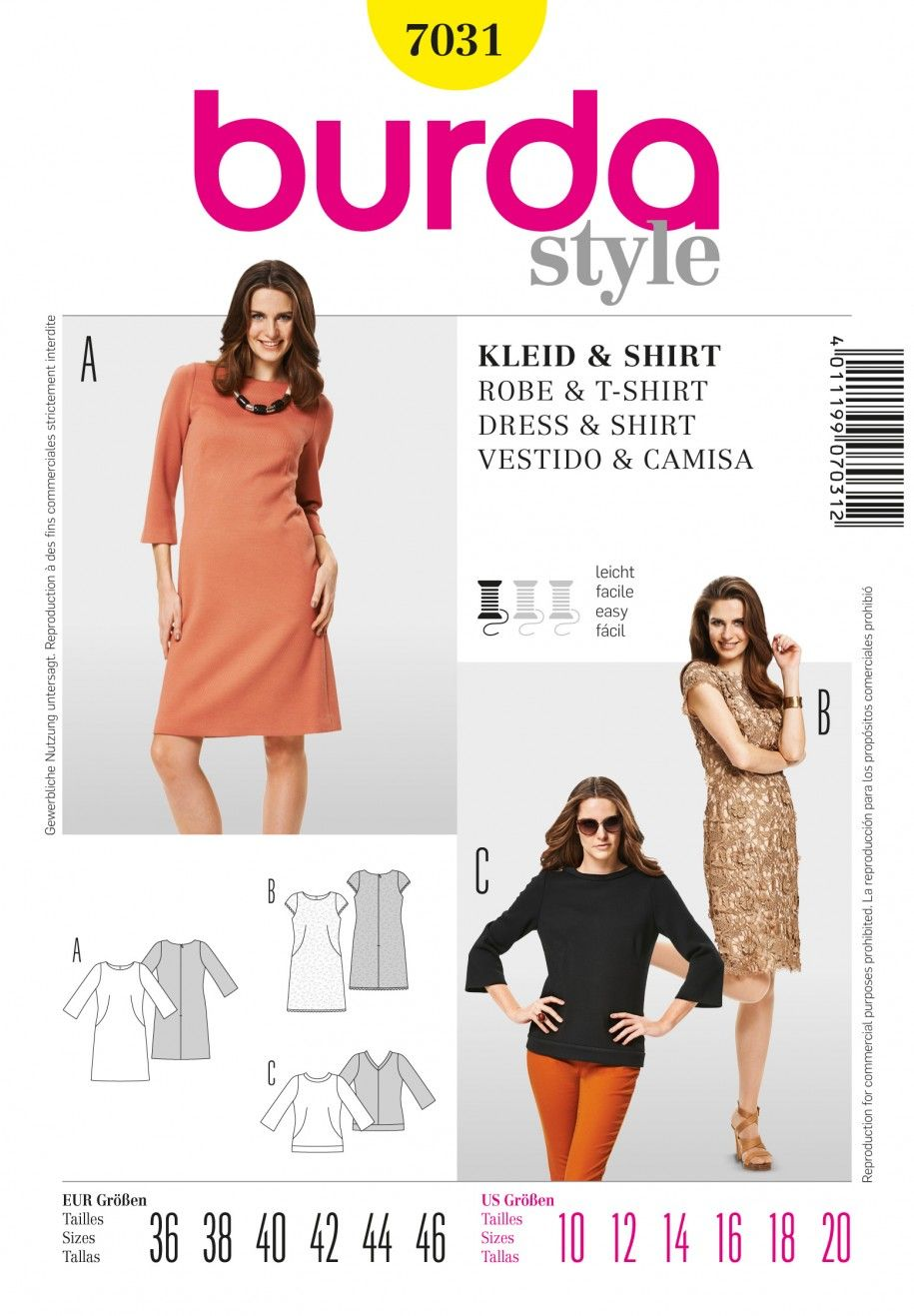 Burda B7031 Burda Style Dress & Shirt Sewing Pattern   Crafts and ...