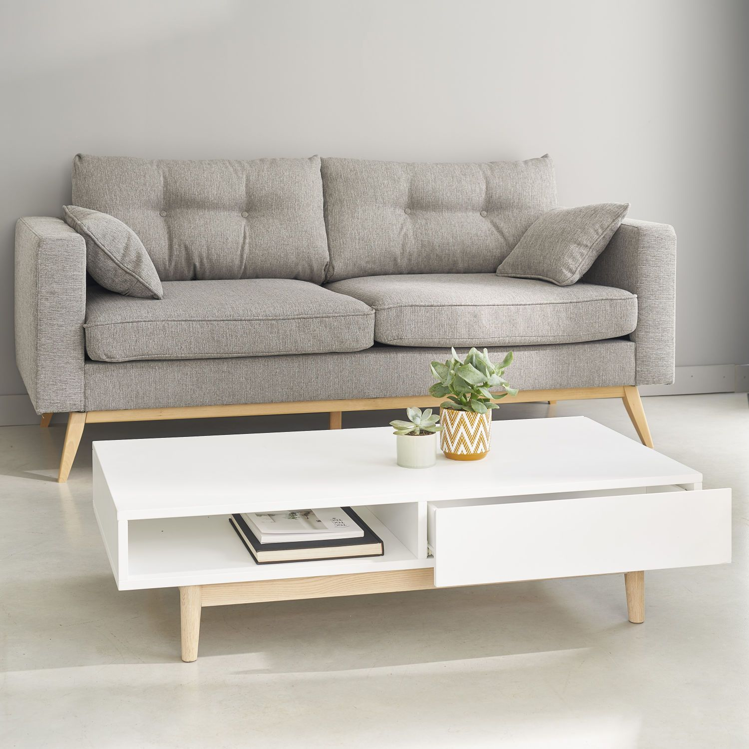Couchtisch Scandi Design White 2-drawer Scandinavian-style Coffee Table (mit ...