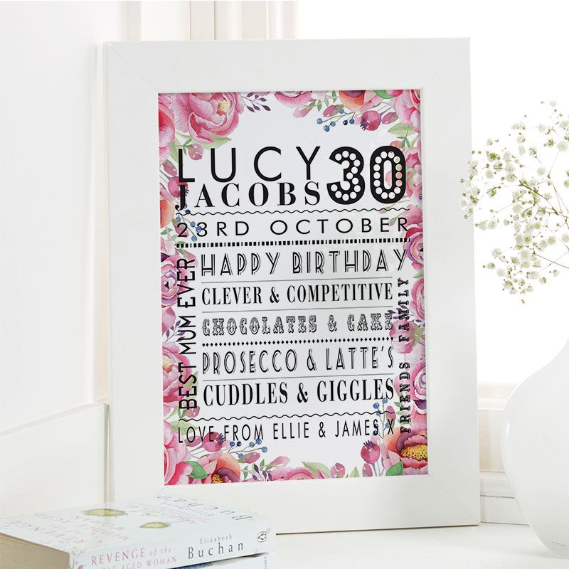 30th Birthday Gift For Her Of Personalised Age Print