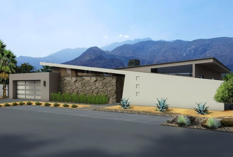 "The front elevation of the homes features classic midcentury elements such as a rock-accented wall, clerestory windows, and an angled entry and facade. ""There's very little glass, only high glass, so from the street these houses are very private,"" says architect Hugh Kaptur."
