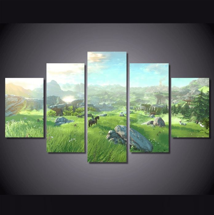 5 panel legend of zelda canvas painting wall canvas for Multi frame wall art