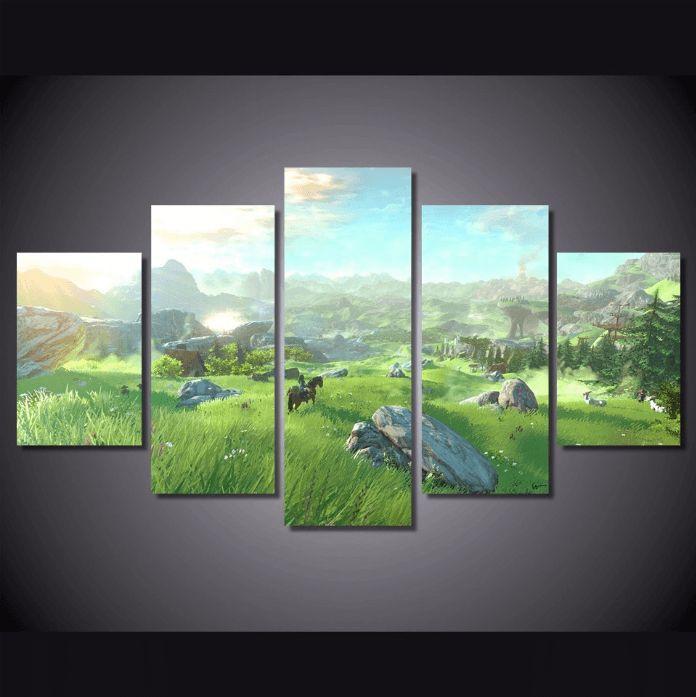 Zelda 5 Panel Canvas Print Wall Art
