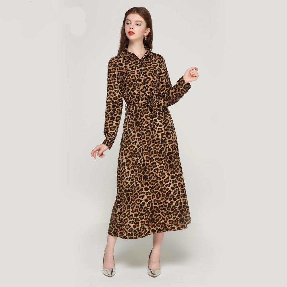 women leopard print ankle length dress bow tie sashes long sleeve retro  ladies casual chic dresses vestidos QA472  dresses  weddingdresses   womensclothing ... 5ccdbc83cb1a
