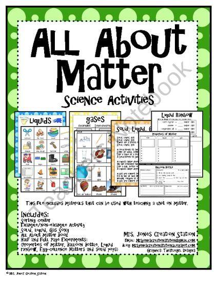 Teachers Notebook Matter Science Matter Science Activities Science Activities