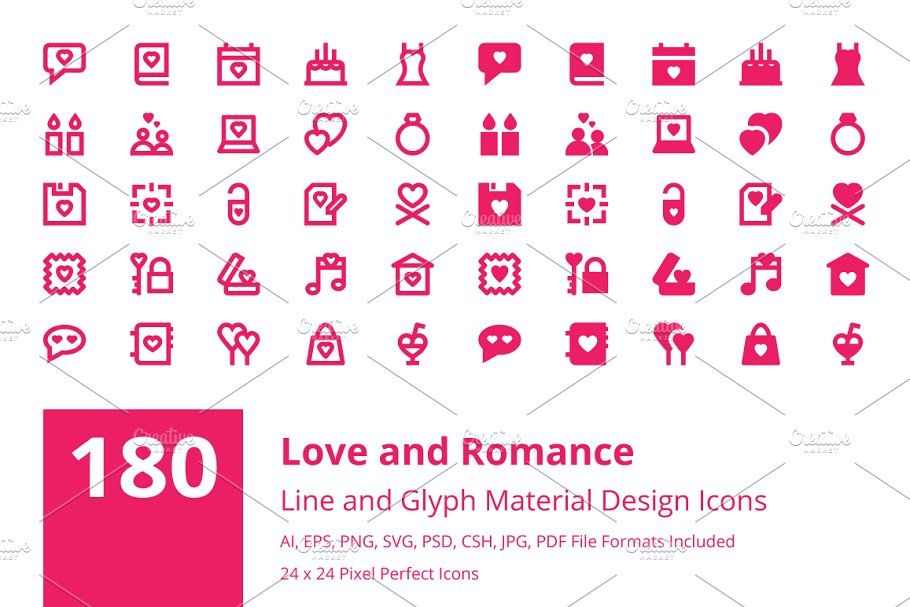 180 Love And Romance Material Icons Love Romance Icons Material