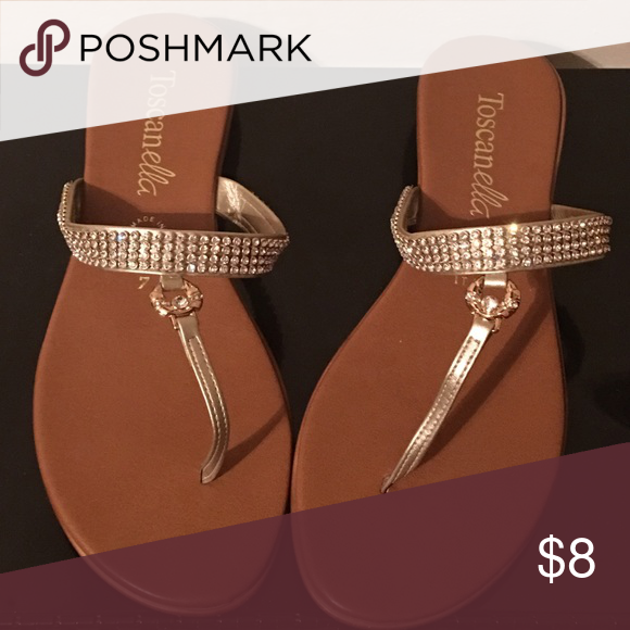 889457990471ee Flat sandals Silver rhinestone with gold front buckle charm flip flop  sandals toscanella Shoes Sandals