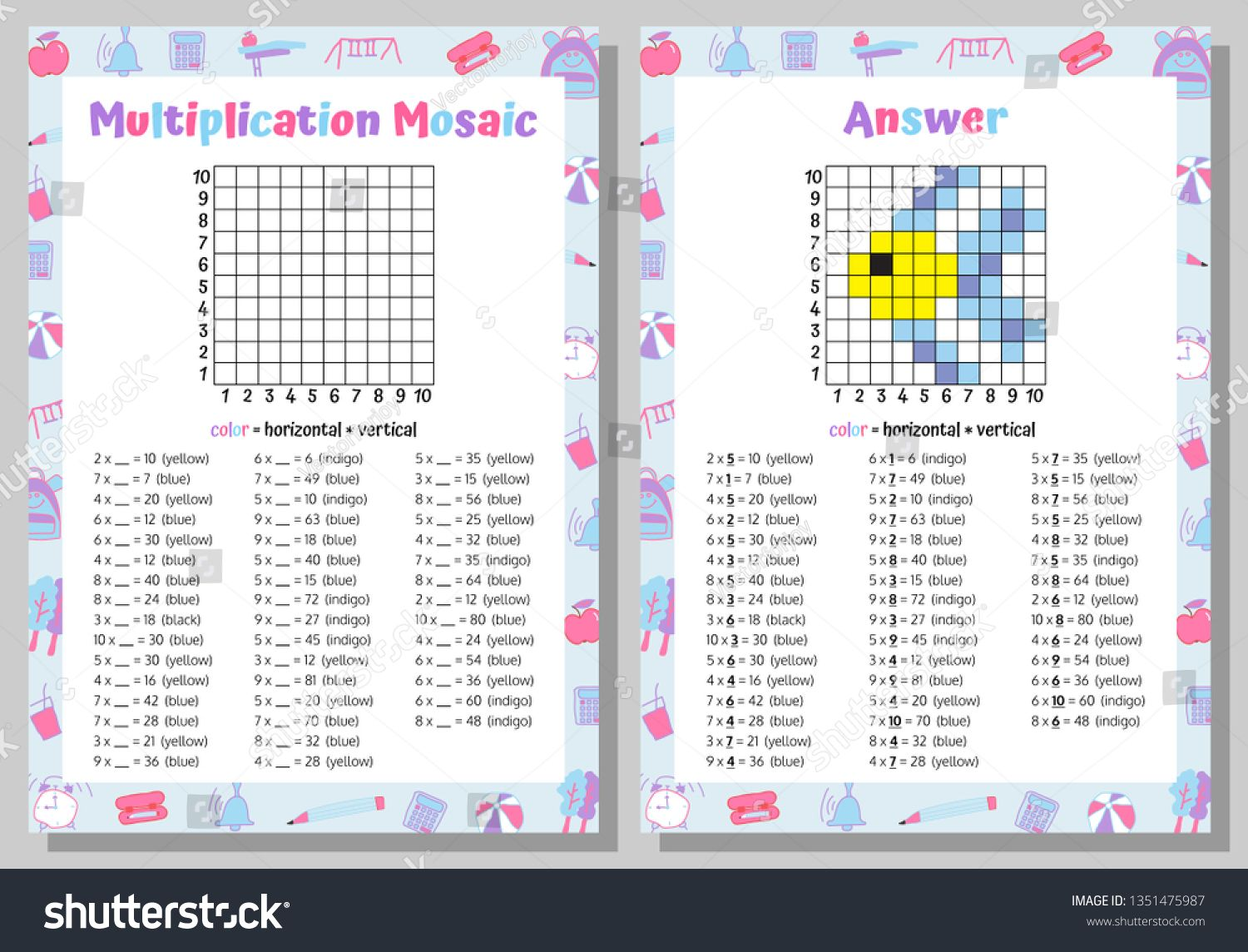 Multiplication Mosaic Math Puzzle Worksheet Educational