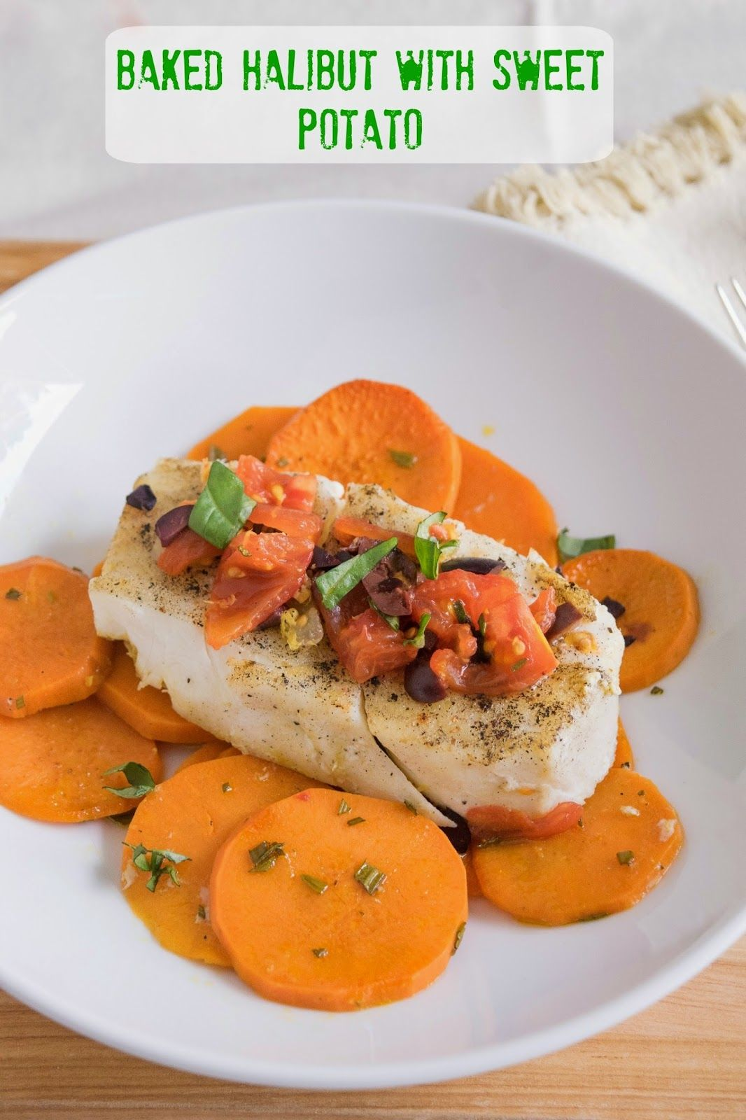Baked halibut with sweet potato #seafood