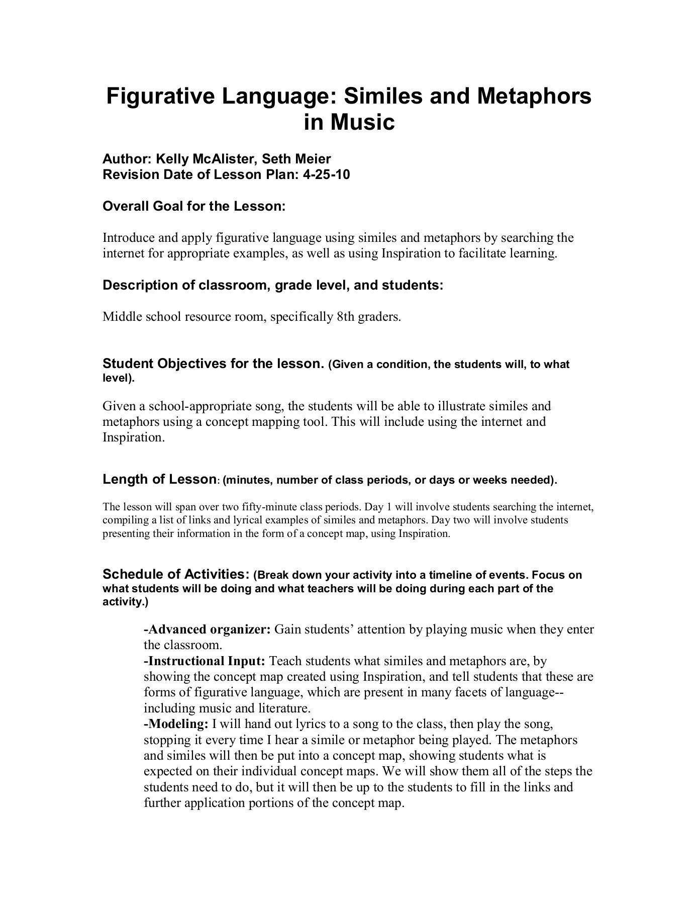 Figurative Language Worksheet Middle School Figurative Language Similes And Metaphors In Music Pa In 2020 Similes And Metaphors Funny Dating Quotes Figurative Language