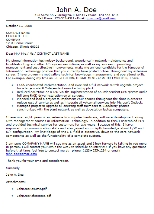 Technology Cover Letter Example  Information Technology