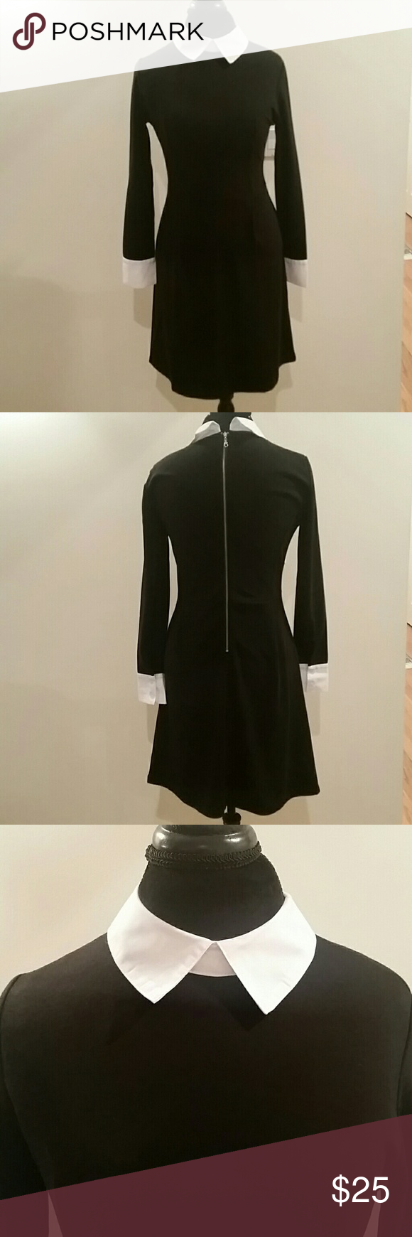 Little black dress black long sleeve dress with white buttoned
