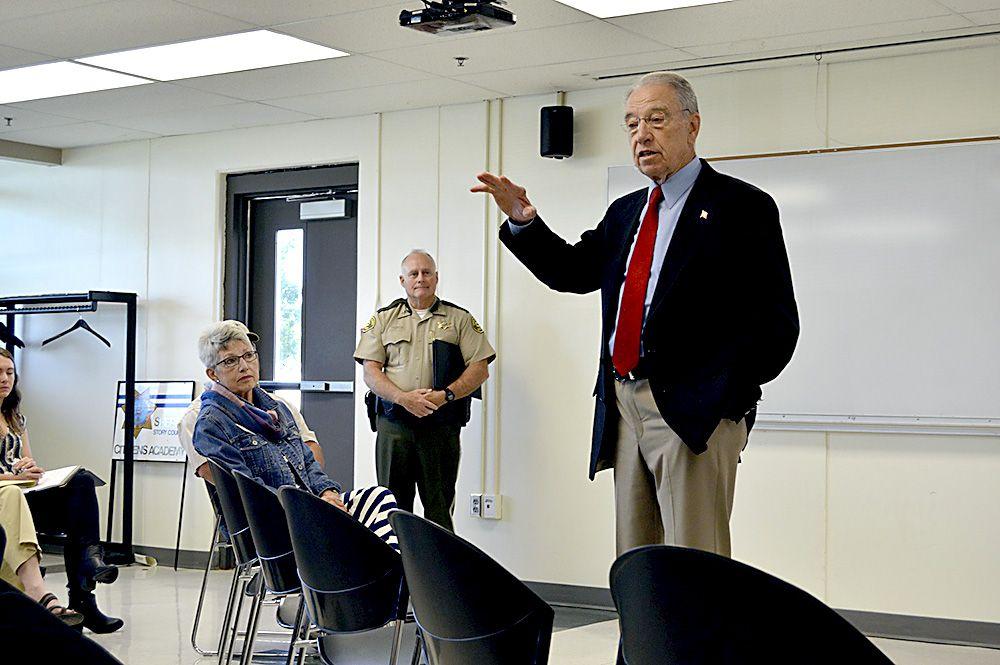 U.S. Sen. Chuck Grassley, RIowa, speaks to a crowd at the