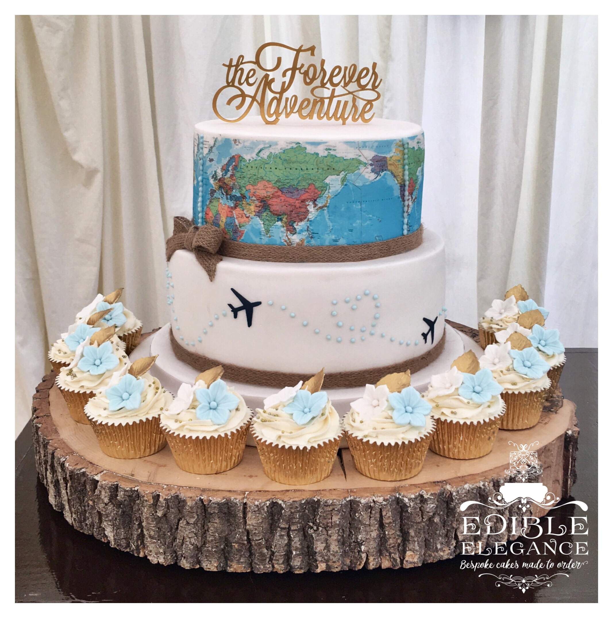 Travel Themed Wedding Cake