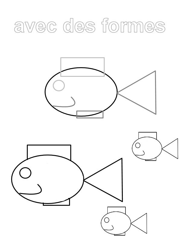 Dessin de poisson en forme g om trique formes et - Coloriage des formes ...