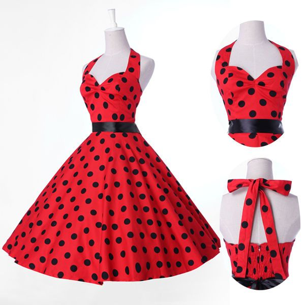 Vintage Retro Halter Polka dot Swing 50's Housewife pinup ...