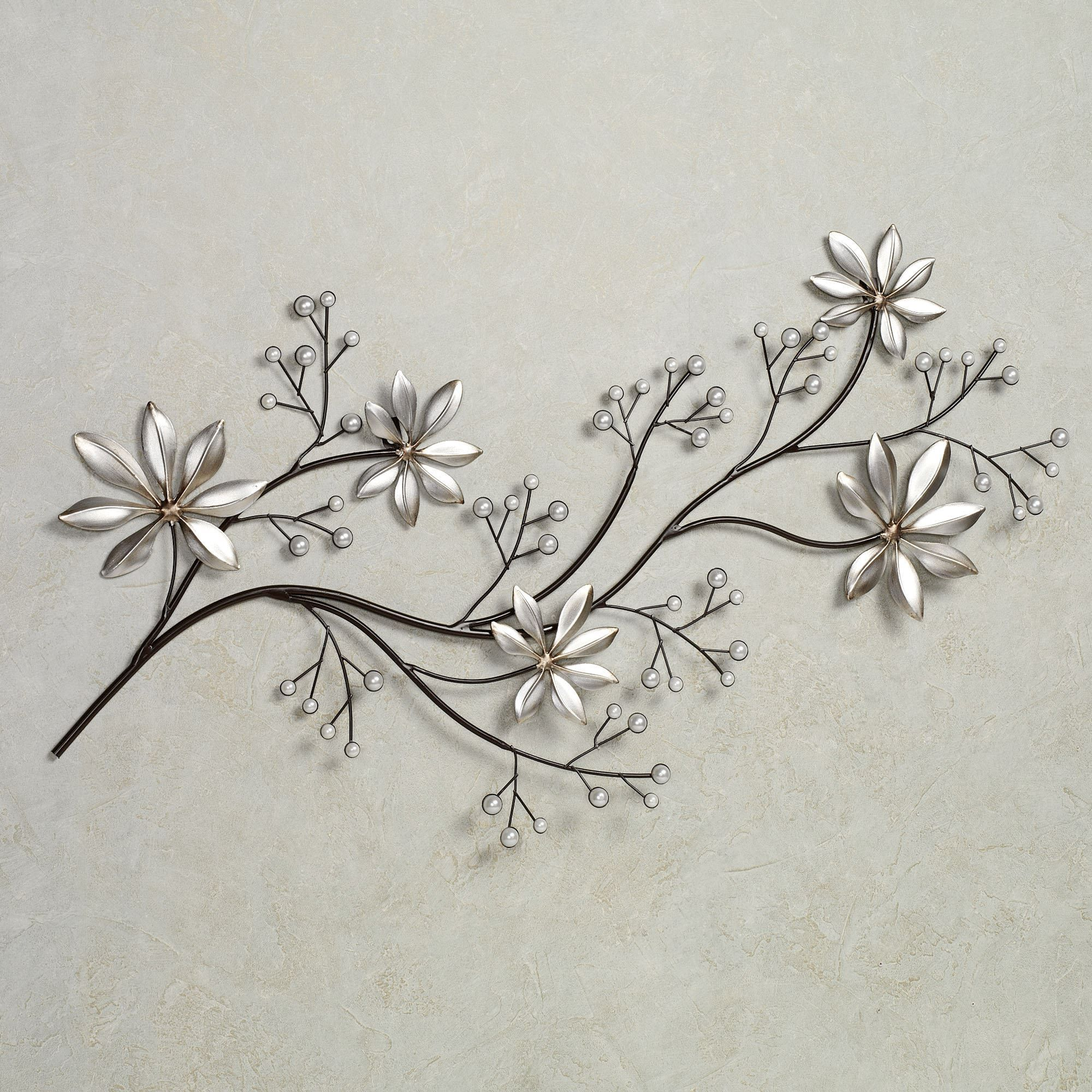 Pearl Array Floral Metal Wall Art