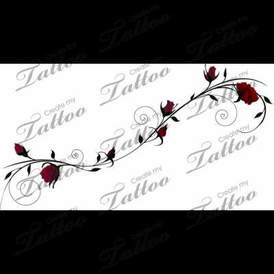 Marketplace Tattoo Roses on Slender Vine #1104