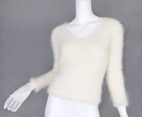 Knitting A Sweater Neckline : Vintage 90s ivory angora womens sweater off white tight fuzzy v