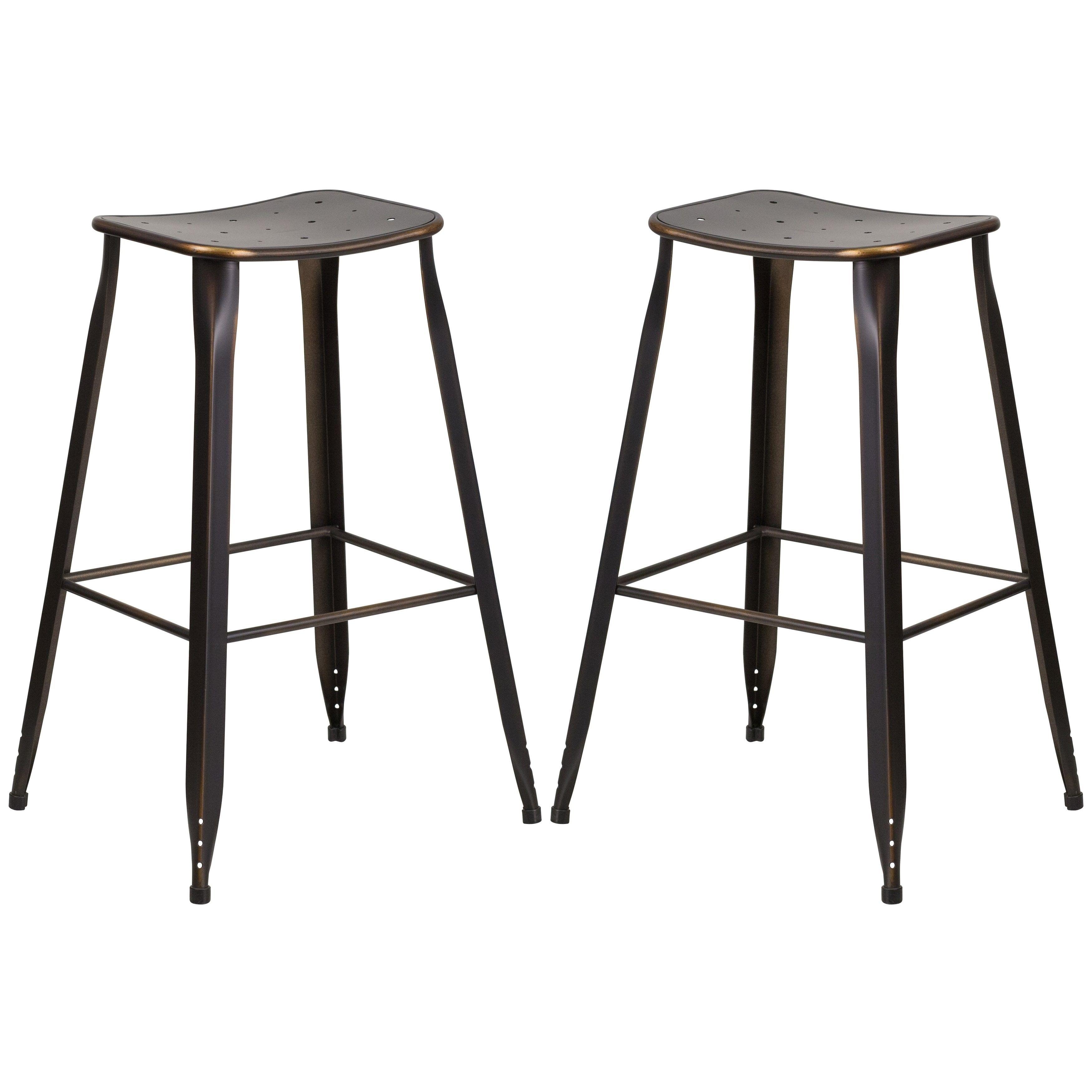 Super Distressed Copper Galvanized Metal 30 Inch Bar Stool 4 Creativecarmelina Interior Chair Design Creativecarmelinacom