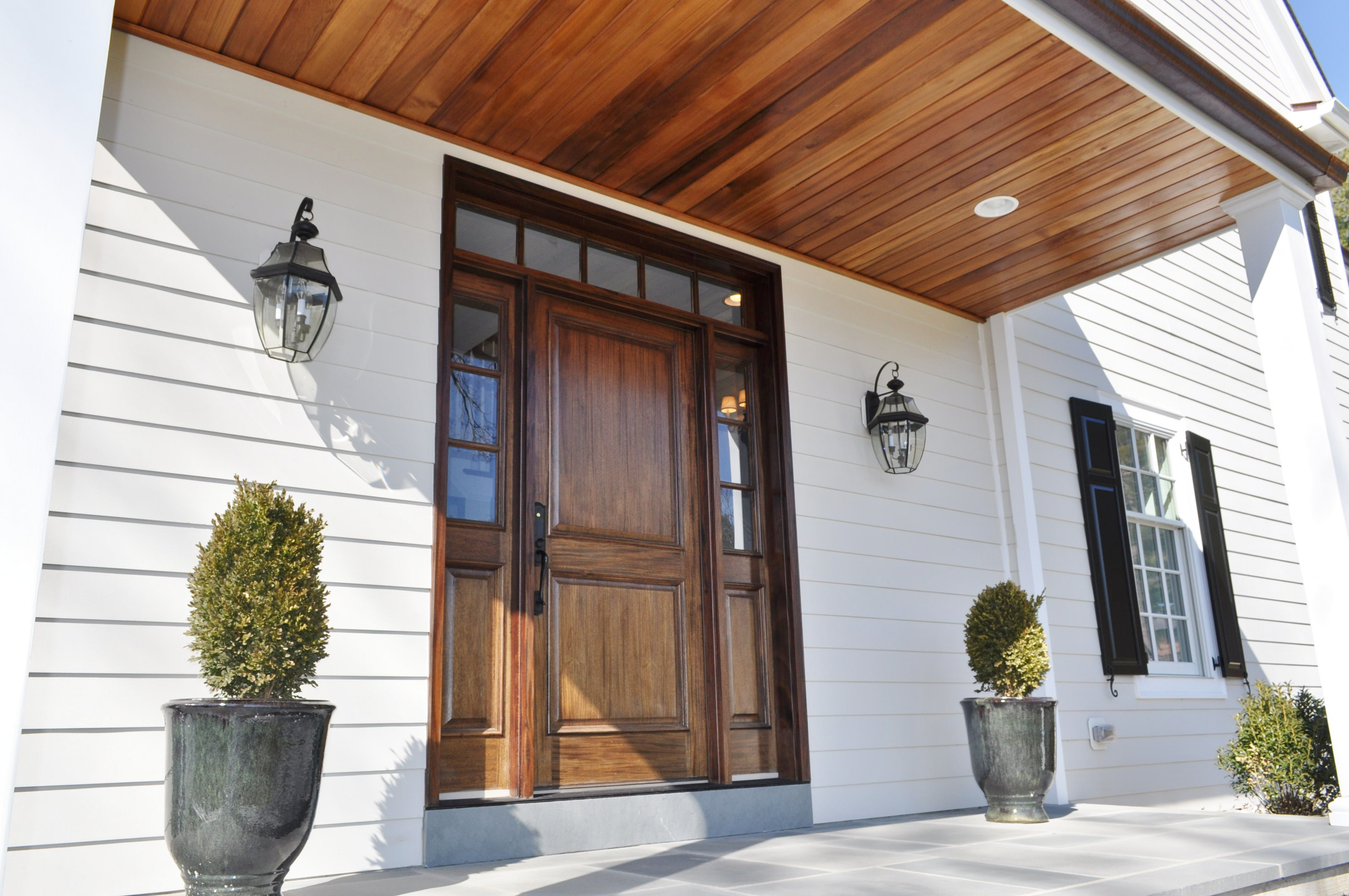 Best Custom Mahogany Entry Door With Cedar Plank Ceiling Under 400 x 300