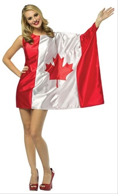 Canadian Flag one sleeved costume dress, perfect for Canada day! Add some red and white makeup to really show your Canadian love. Free shipping available!