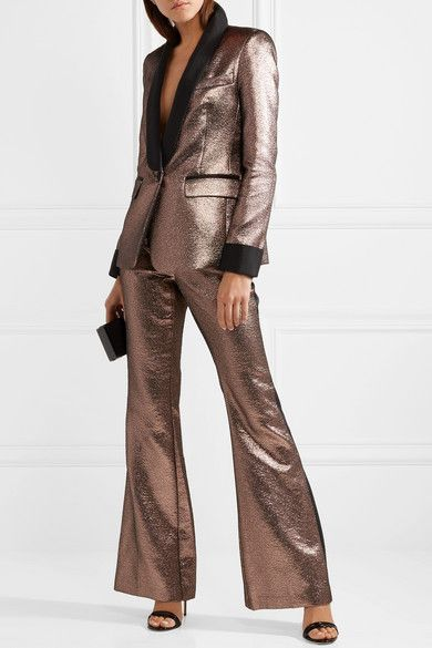 Cheapest Price Cheap Online Bruno Grosgrain-trimmed Metallic Jacquard Flared Pants - Bronze Rachel Zoe Best Store To Get Online Cheap Sale Fast Delivery Shop For Discount Ebay nimPeUvc
