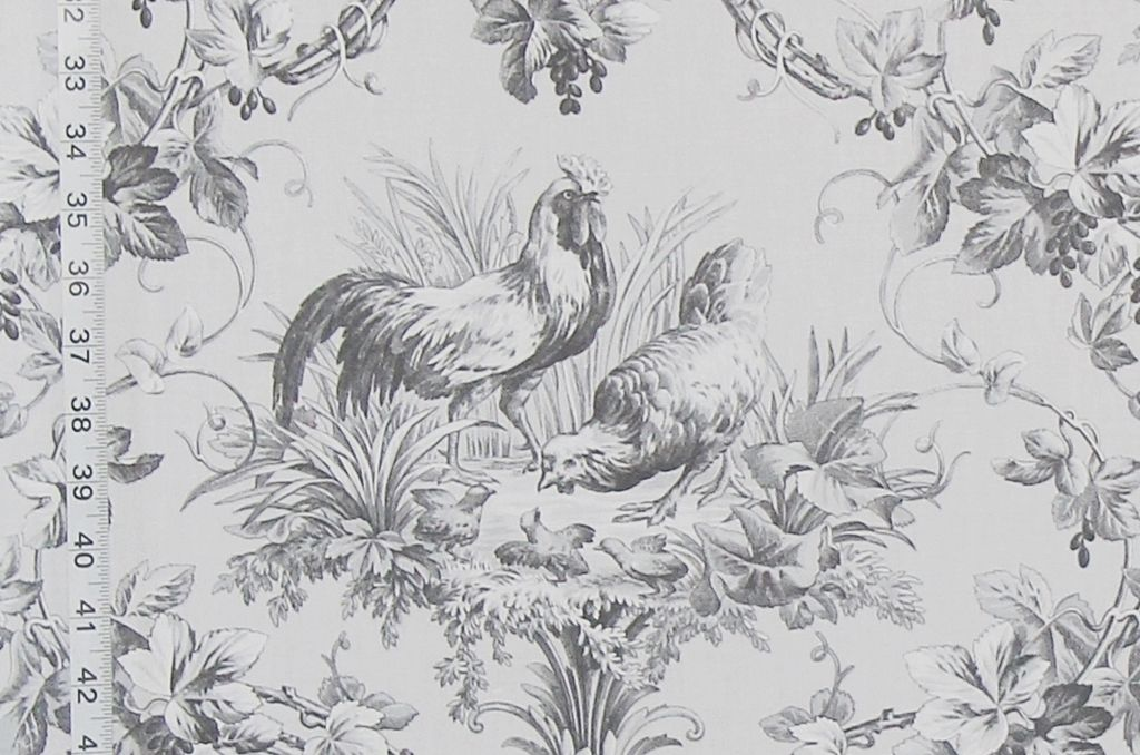 Grey Rooster Fabric A French Country Toile Toile Fabric French