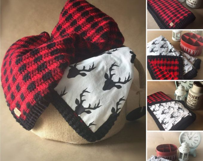 Red And Black Buffalo Plaid Crochet Baby Blanket Lined With Cotton Deer Fabric Made In Canada Plaid Crochet Crochet Baby Baby Blanket Crochet