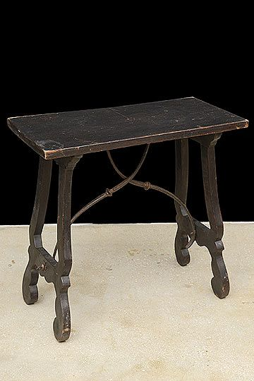 Antique Spanish Side Table With Iron Stretcher