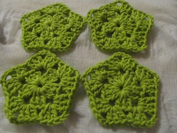 Set of 4 Lime Green Handmade Crochet by SimplicityCrafting on Etsy, $3.00