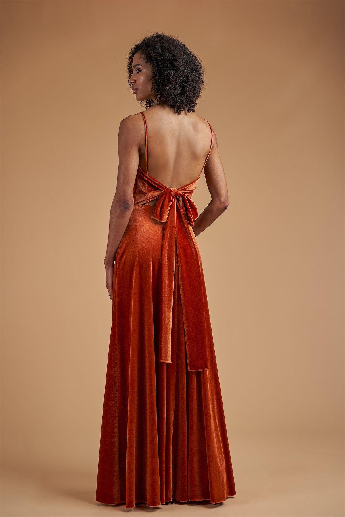 B223066 Stretch Velvet Sweetheart Spaghetti Strap Dress With Long Tie Back Burnt Orange Bridesmaid Dresses Velvet Bridesmaid Dresses Orange Bridesmaid Dresses [ 1800 x 1200 Pixel ]