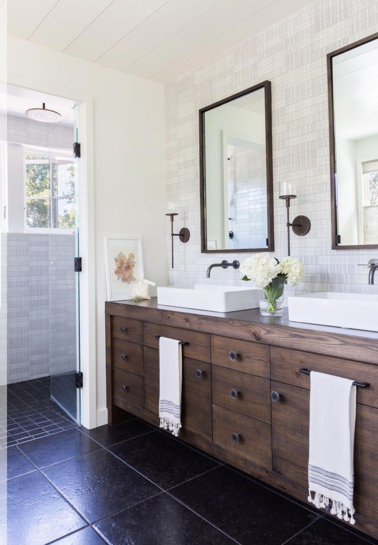Bathroom Tile Gray   Modern farmhouse bathroom, Rustic ... on Rustic Farmhouse Bathroom Tile  id=45372
