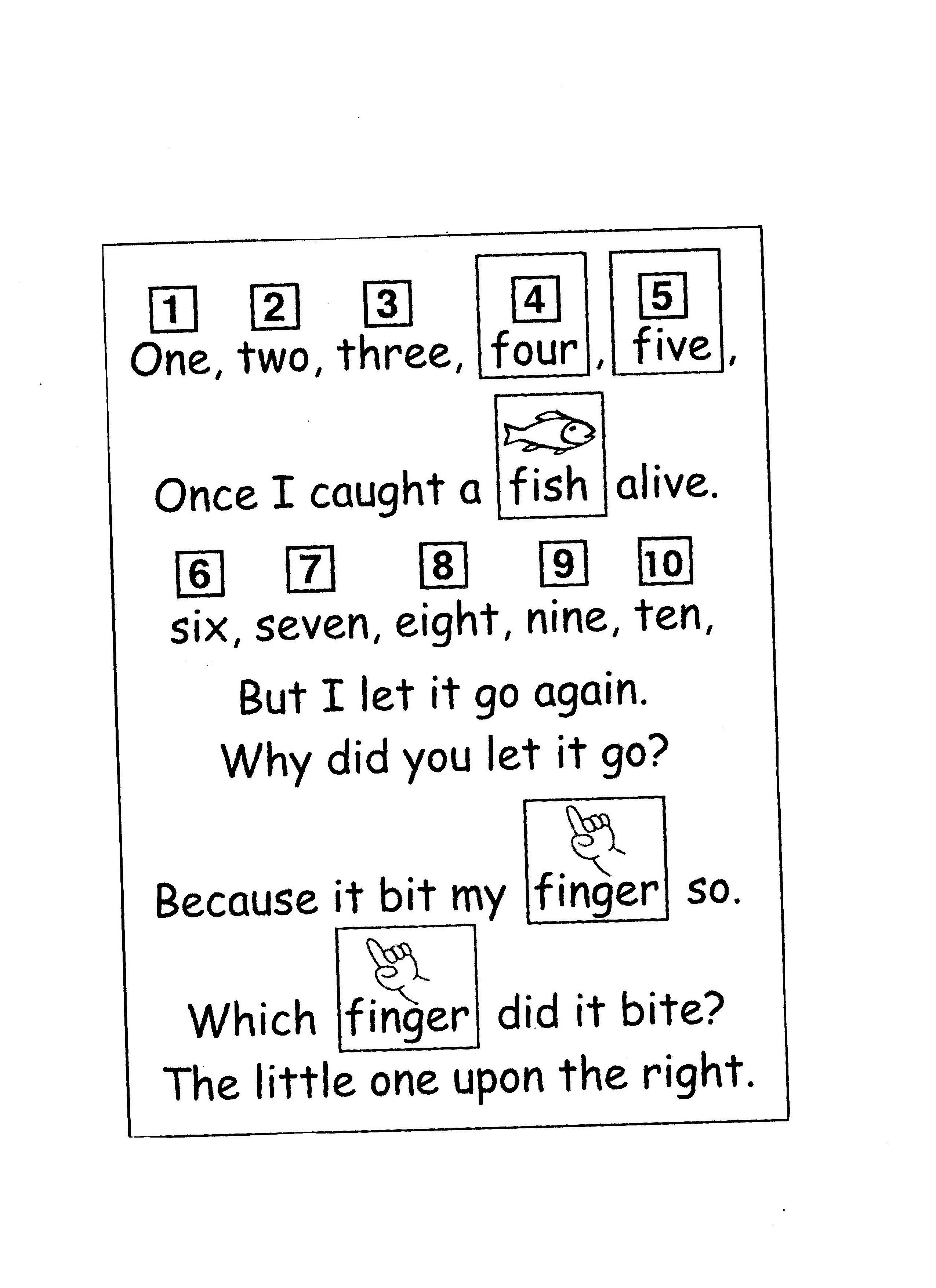 Once I Caught A Fish Alive Coloring Sheet Nursery Rhymes