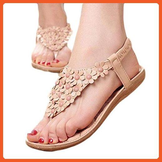 020e5e02a9f7e Koly Summer Womens Fashion Bohemia Sweet Beaded Sandals Clip Toe Sandals  Beach Shoes (39