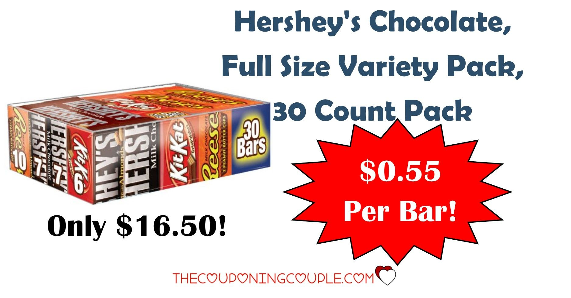 OH BOY! Check this out! Get a Hersheys Chocolate Bars Variety Pack 30 count for only $16.50! That is ONLY $0.55 per bar! Stock up for treats or as Valentine's Day gifts!  Click the link below to get all of the details ► http://www.thecouponingcouple.com/hersheys-chocolate-variety-pack-30-count-only-0-55-per-bar/ #Coupons #Couponing #CouponCommunity  Visit us at http://www.thecouponingcouple.com for more great posts!