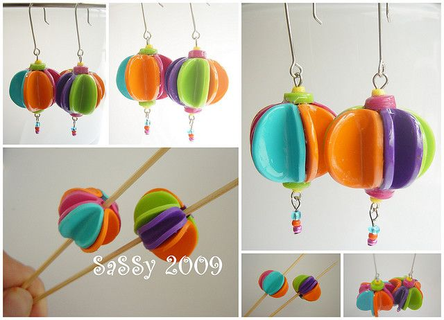 Polymer clay earring idea. Reminds me of something my Aunt would make!