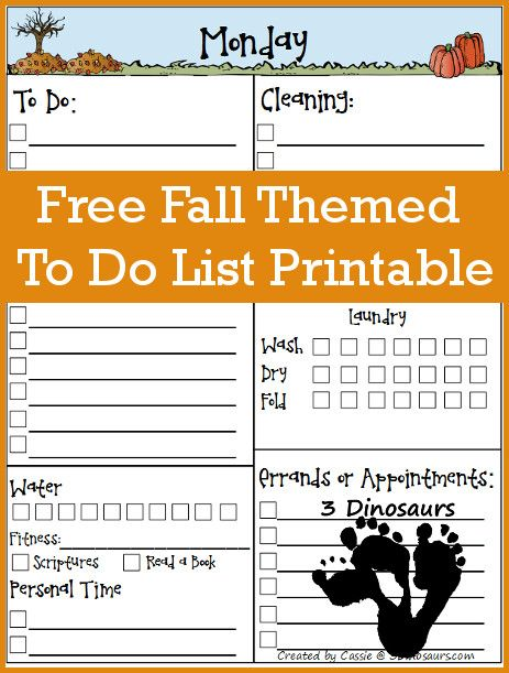 Free Fall Themed To Do List Printable - 3Dinosaurs Organizing