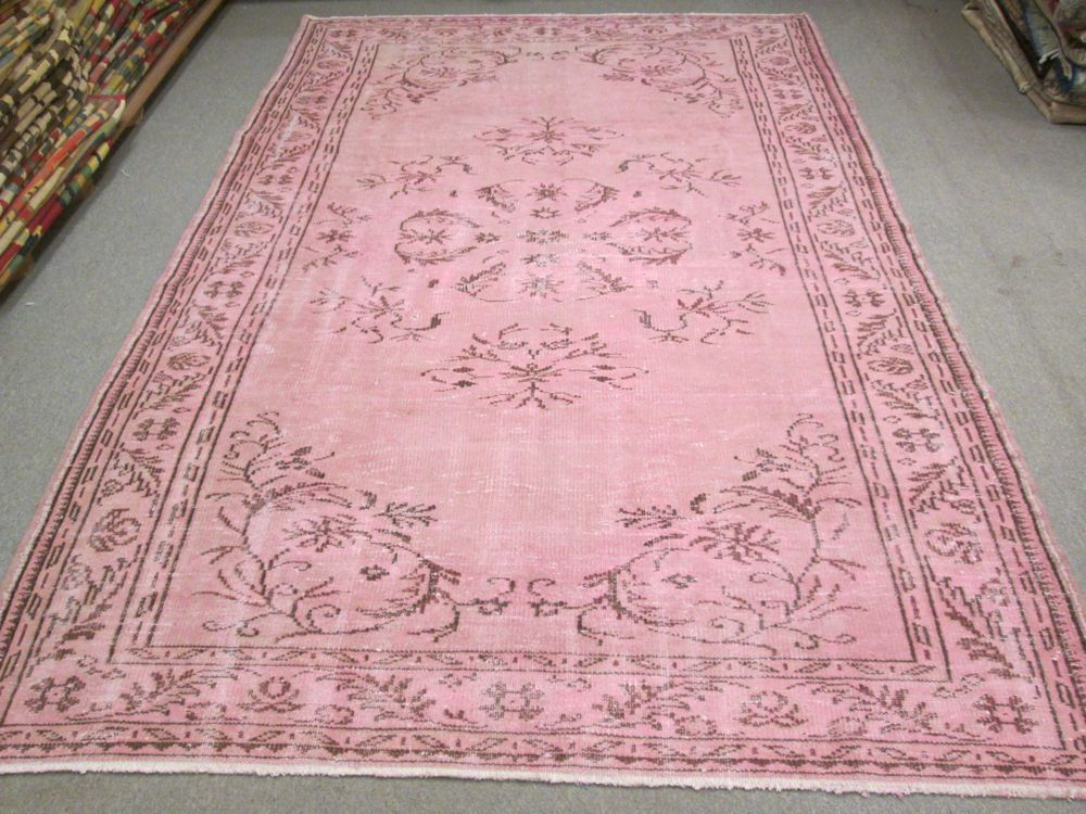 Pale Faded Pink Overdyed Rug Vintage Victorian Style Rug Vintage