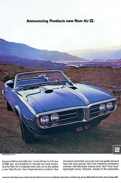 1968 pontiac firebird 400 ad poster car ads pinterest - Vieille voiture decapotable ...