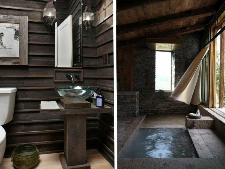 lavabos rusticos banos madera cristal ideas Interiores para baños - lavabos rusticos
