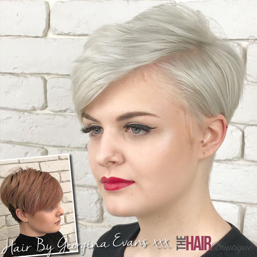 Another shot of georginaus amazing platinum blonde colour and pixie