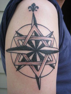 Overkill Star Of David Fleur De Lis And Compass In A Single