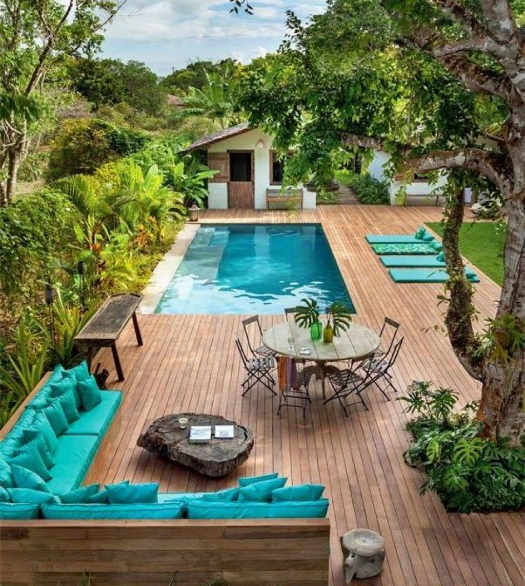Rectangular Swimming Pool With Furniture And Wooden Deck Backyard Backyard Pool Outdoor Living